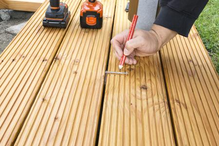 build a terrace floor for a pavilion in garden Stock Photo