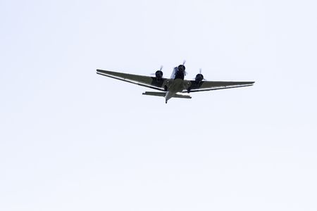 The Junkers Ju 52/3m, a three-engine airplane in front of a homogenous background / Junkers Ju 52 / 3m aircraft 版權商用圖片