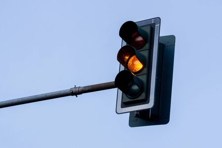 Traffic Light With Yellow Light Standard-Bild