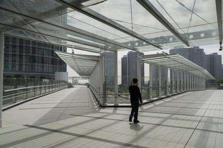 Transparent roofed corridors Stock Photo