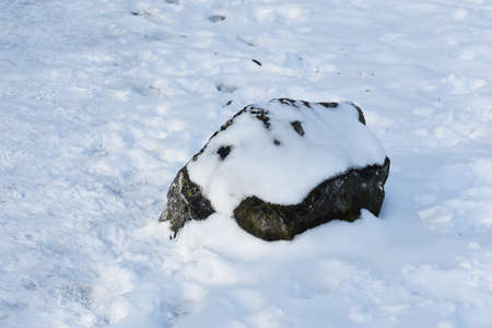 Decorative stone covered with snow in the park.