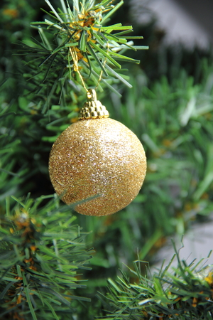 celebration: christmas balls on white golden tree with red backgrounds white Stock Photo