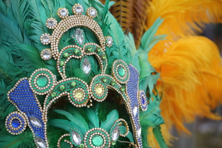 percussion instruments feathers and carnival embroidery 写真素材