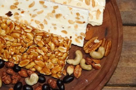 Christmas nougat of peanut chestnut almonds and honey
