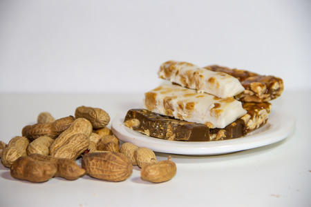 Peanuts and honey nougat with candied peanuts and Christmas pineapples