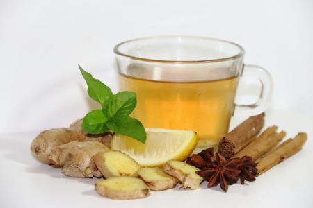 Healthy tea of ginger mint lemon cinnamon curcuma anis and honey