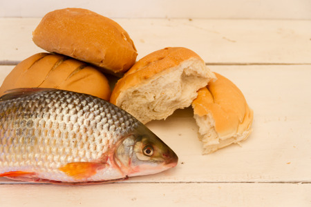 fish and breads Stock Photo
