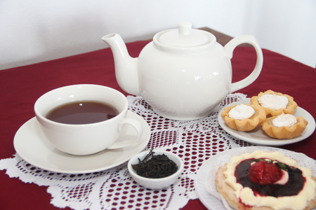 table served for tea with cakes