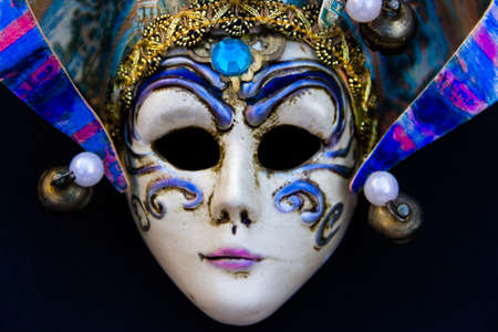 typical masks of the traditional venice carnival
