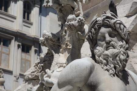 ROME, ITALY - MAYO 15 2019: Fountain of the Four Rivers in the Piazza Navona, designed in 1651 by Gian Lorenzo Bernini.