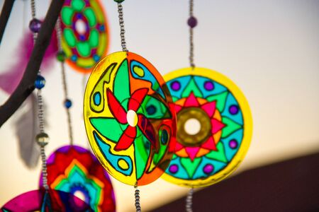 dreamcatcher and mandalas made with cd and recycled materials