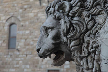 FLORENCE, ITALY - May 23 2019: Piazza della Signoria, detail of the lion Editöryel