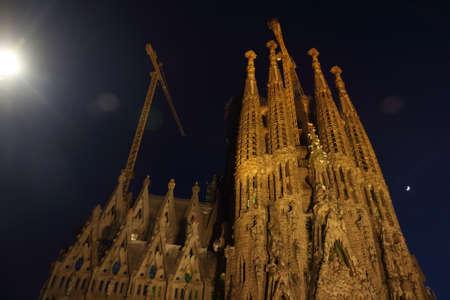 Barcelona, Spain - June 7 2019: night view of the Sagrada Familia facade