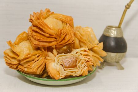 fried pastry with quince and batata typical of south america gastronomy Stok Fotoğraf