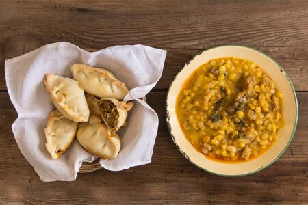 locro dishes and empanadas, traditional Argentine foods that are frequently consumed for national holidays, such as the revolution of May 25 and independence on July 9