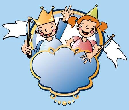 Kids celebrating a party medieval Stock Photo