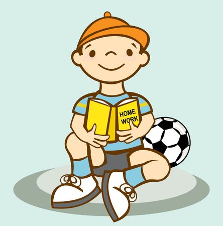 seated boy reading to side of a ball