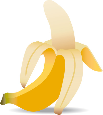One isolated open banana up with shadow