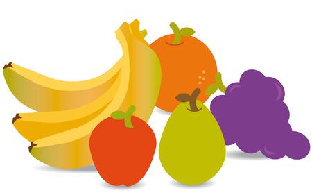 mezcla de frutas: Grupo de frutas como el pl�tano, una manzana, pera y naranja Vectores
