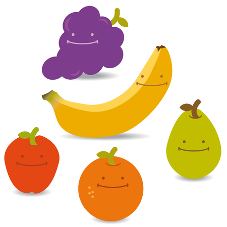 Group of fruits like an apple, bananas, orange and pear with happy faces
