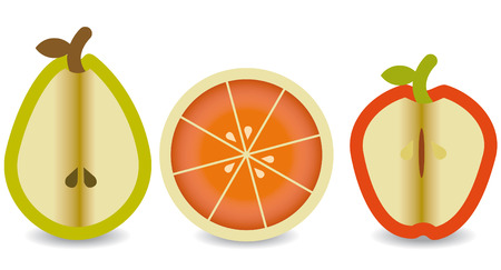 three fresh fruits cut in the middle