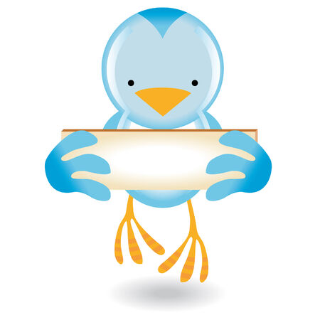 Blue bird icon with a frame to put messages