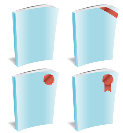 Set of four empty books to put any image inside with red ribbons