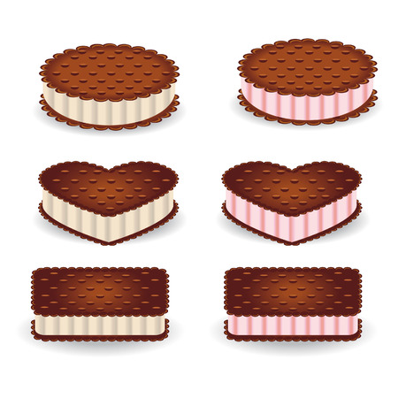 Set of different shapes of cookies with vanilla and strawberry cream