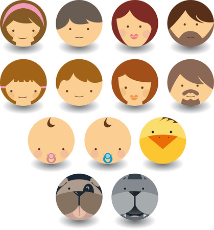 family isolated: set of faces icon with humans and animals