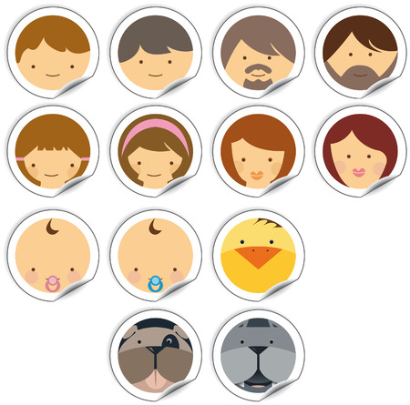 set of faces icon with humans and animals