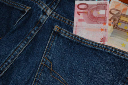 trouser: moneys in the trouser pocket Stock Photo