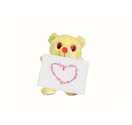 teddy bear with love letter Stok Fotoğraf