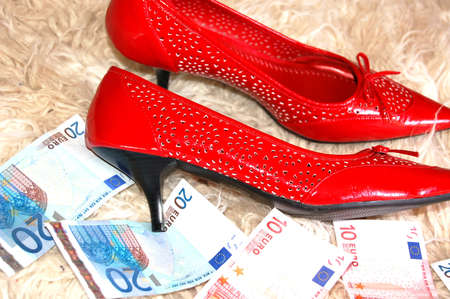 pornography: a pair of red shoe and money