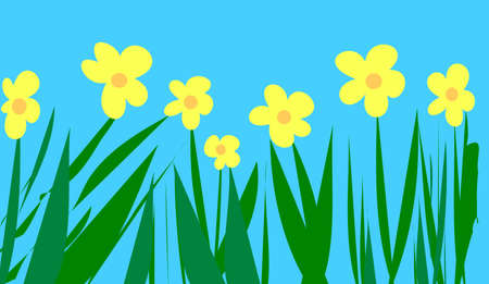 decore: a lot of flowers on blue background