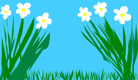 decore: flowers on blue background Stock Photo