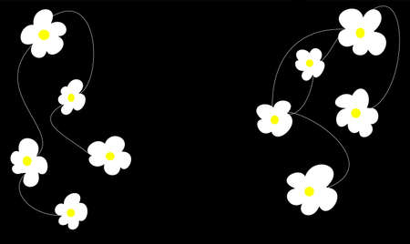 decore: a lot of daisies on black background