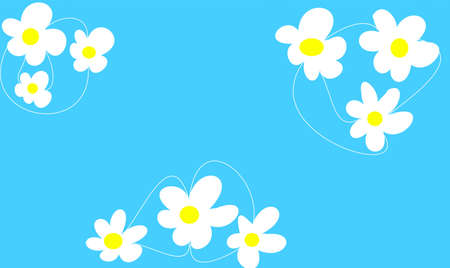 decore: daisies on blue background Stock Photo