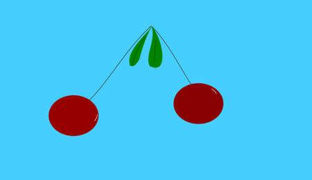 cherries on blue background Stock Photo - 5141468