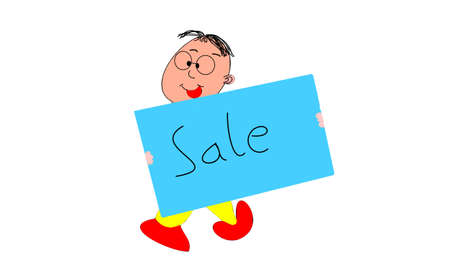 white bacground: the placard of sale on white bacground