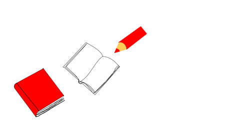 note pad: red pencil and note pad with book