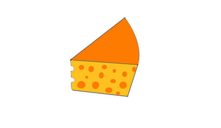 the cheese on white background