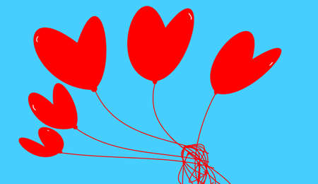 heyday: a lot of red hearts on blue background Stock Photo