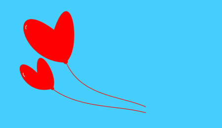 heyday: the two red hearts on blue background Stock Photo