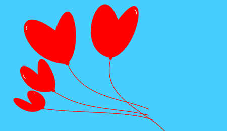 the red hearts on blue background