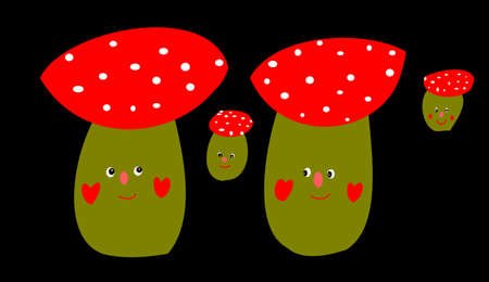 a fly agaric: mushroom with face on black background Stock Photo