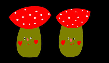 a fly agaric: the two fly agaric with face on black background