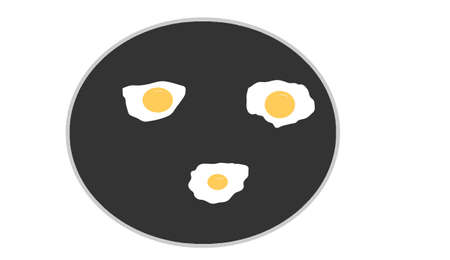 the three fried eggs on black background