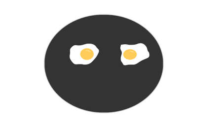 fried eggs in the pan