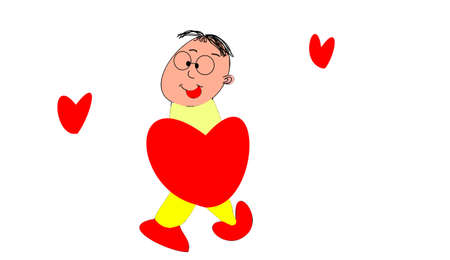 the comedian and red hearts Stock Photo