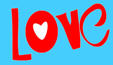 love and the heart on it on blue background